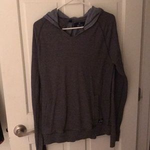 Gray V-Neck Sweater with hood